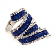 Rhodium Plated with Blue Clear CZ Stretch Ring