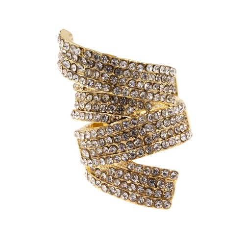 Gold Plated with Clear CZ Stretch Ring