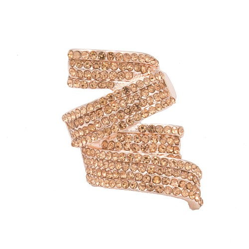 Rose Gold Plated with Peach CZ Stretch Ring