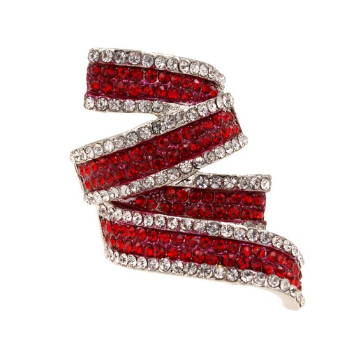 Rhodium Plated with Red Clear CZ Stretch Ring