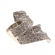 Rhodium Plated with Clear CZ Stretch Ring