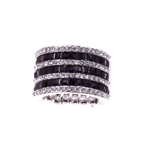 Black and Clear Rhinstone Stretch Ring