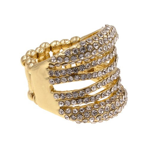 Gold Plated with Rhinstone Stretch Ring