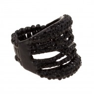 Jet Black Rhinstone Stretch Ring