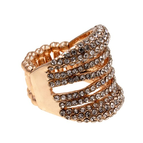 Rose Gold Rhinstone Stretch Ring