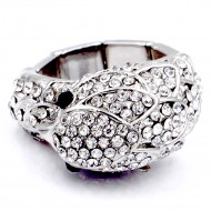 Rhodium Plated with Rhinstone Bird Stretch Rings