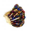 Gold Plated Crystal Fashion Stretch Ring