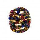 Gold Tone Multi color Crystal Fashion Stretch Ring