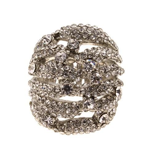 Silver Tone Crystal Fashion Stretch Ring