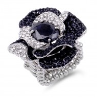 Rhodium Plated With Black Stone Mix Rose Stretch Ring