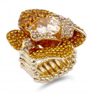 Gold Plated With Topaz Purple Color Flower Rings