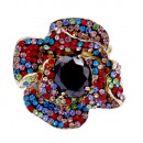 Multi Color Rose With Red Stone Mix Stretch Rings