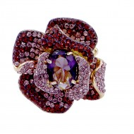 Gold Plated With Light Purple Stone Mix Rose Stretch Ring