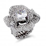 Rhodium Plated With Light Purple Crystal Strech Rings