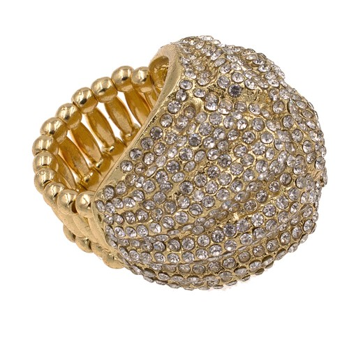 Gold Plated Paved with Micro Clear Crystal Stretch Ring