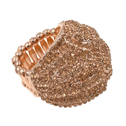 Rose Gold Plated With Micro Peach Crystal Stretch Ring