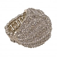 Rhodiumn Plated Paved with Micro Clear Crystal Stretch Ring
