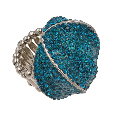 Rhodium Plated with Blue Crystal Stretch Ring