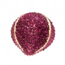 Gold Plated with Fuchsia Crystal Stretch Ring