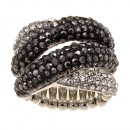 Rhodium Plated with Black Crystal Stretch Ring