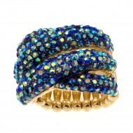 Gold Plated with Blue AB Crystal Stretch Ring
