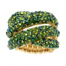 Gold Plated with Green AB Crystal Stretch Ring