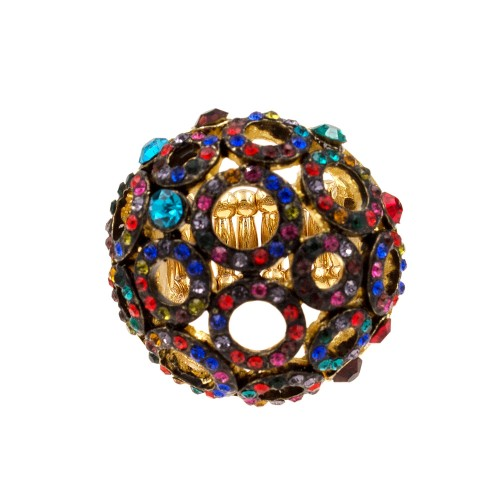 Gold Plated with Multi-Color Crystal Stretch Ring
