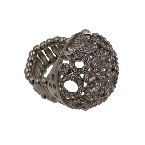Gray Tone with Hematite Crystal Stretch Ring