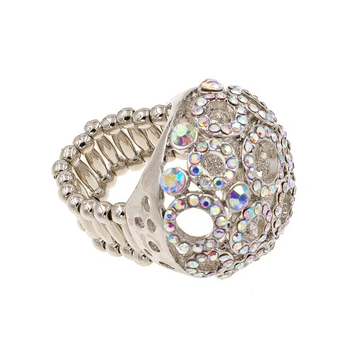 Rhodium Plated with Clear AB Crystal Stretch Ring
