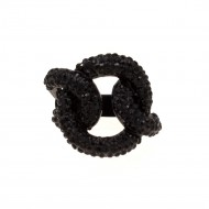 Black Tone with Jet Black Crystal Stretch Ring