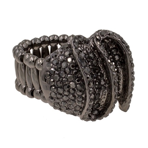 Dark Gray Tone with Hematite Crystal Stretch Ring