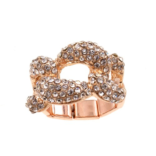 Rose Gold Plated With Crystal Stretch Rings