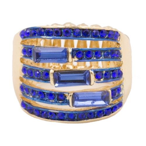 Gold Plated With Royal Blue Crystal Stretch Rings