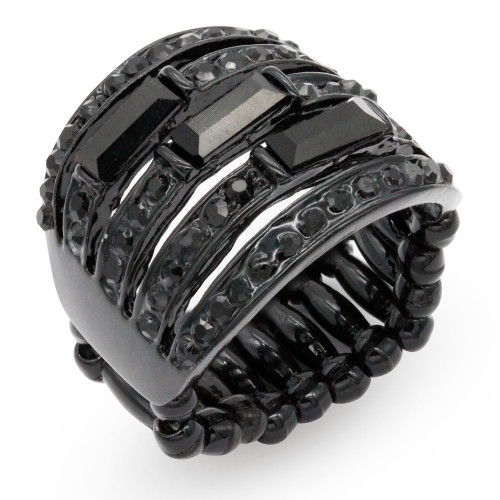 Jet Black With Crystal Stretch Rings