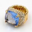 Gold Plated With Aqua Blue Stone Crystal Stretch Rings