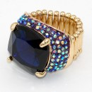 Gold Plated With Blue Stone Stretch Rings