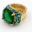 Gold Plated With Green Stone Stretch Rings