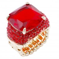 Gold Plated With Red Stone Crystal Stretch Rings