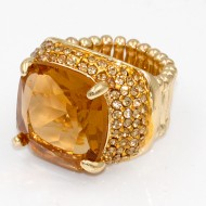 Gold Plated With Topaz Stone Crystal Stretch Rings