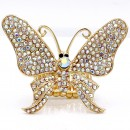 Gold Plated With AB Crystal Butterfly Stretch Rings