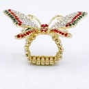 Gold Plated With Multi Color Crystal Butterfly Stretch Rings