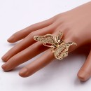 Gold Plated With Topaz Crystal Butterfly Rings