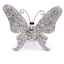 Rhodium Plated With Clear Crystal Butterfly Stretch Rings