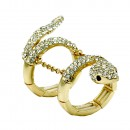 Gold Plated With Clear Crystal Snake Stretch Rings
