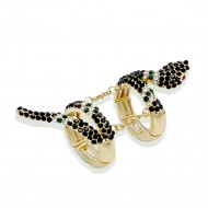 Gold Plated With Black Crystal Snake Stretch Rings