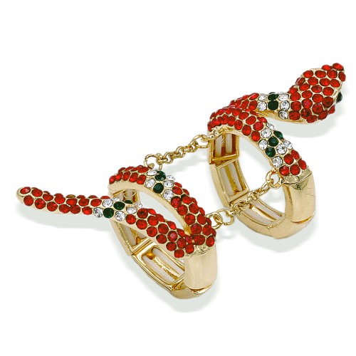 Gold Plated With Red Mix Crystal Snake Stretch Rings