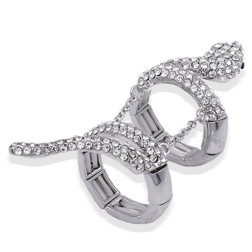 Rhodium Plated With Clear Crystal Snake Stretch Rings