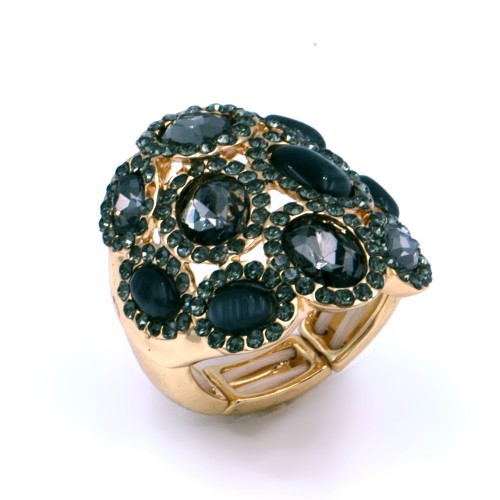 Gold Plated With Black Stone Stretch Rings