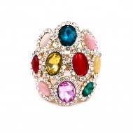 Gold Plated With Multi Color Stone Stretch Rings