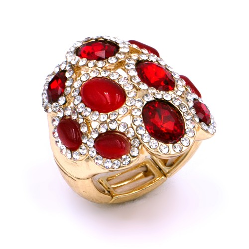 Gold Plated With Red Stone Stretch Rings